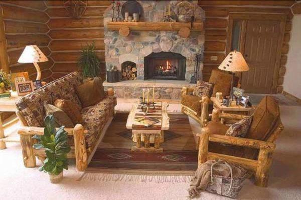 parede de tijolinhos e lareira com piso de madeira