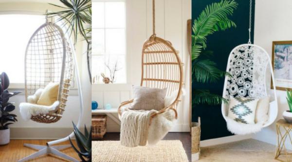 cadeiras suspensas como móveis multiusos