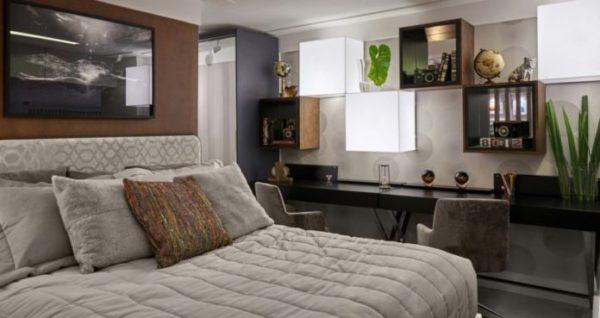 roupas de cama e cabeceira da cama para uma decoração linda